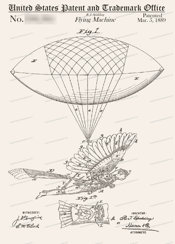 CARD-059: Flying Machine (1889) - Patent Press Greeting Cards