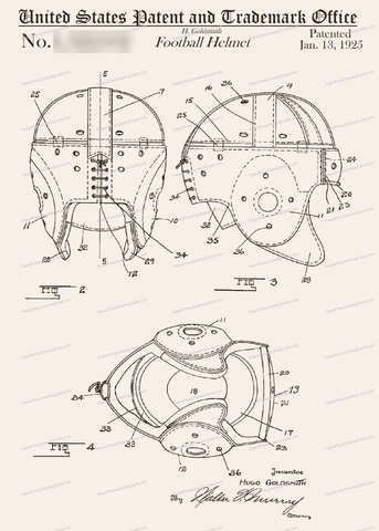 CARD-060: Football Helmet - Patent Press Greeting Cards