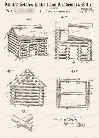 CARD-085: Lincoln Logs - Patent Press Greeting Cards