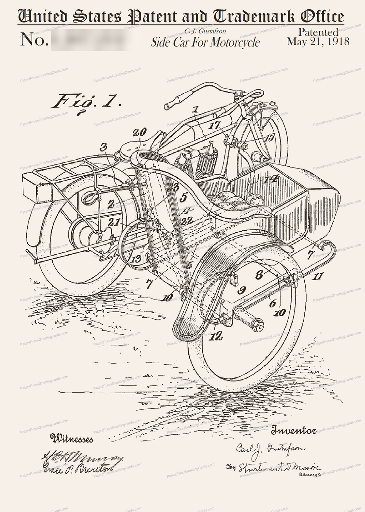 CARD-092: Motorcycle Sidecar - Patent Press Greeting Cards