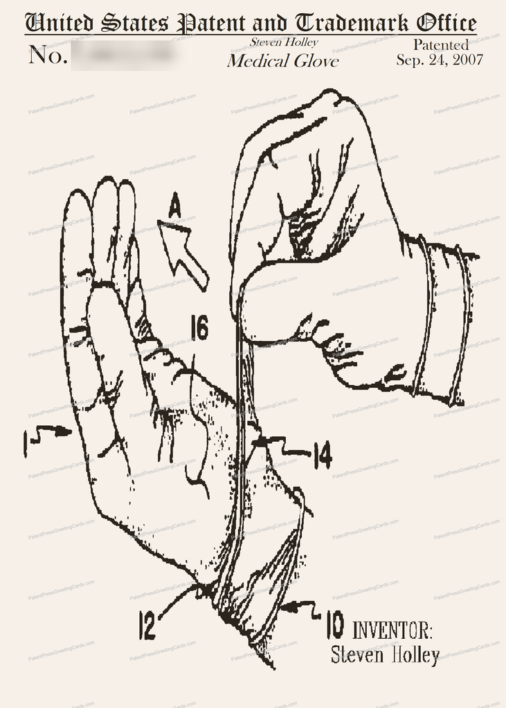 CARD-123: Surgical Gloves - Patent Press Greeting Cards