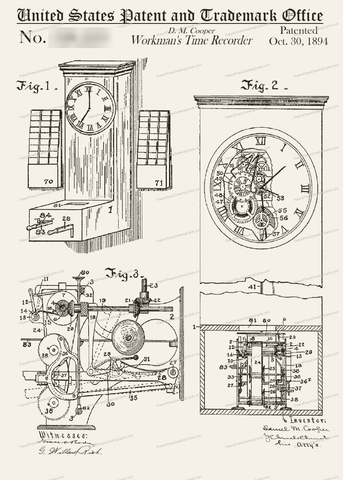 CARD-130: Timeclock - Patent Press Greeting Cards