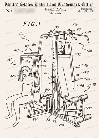 CARD-145: Weight Lifting Machine - Patent Press Greeting Cards