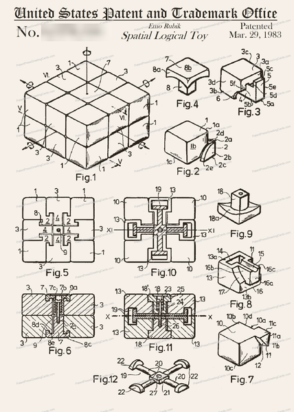 CARD-149: Rubik's Cube - Patent Press Greeting Cards
