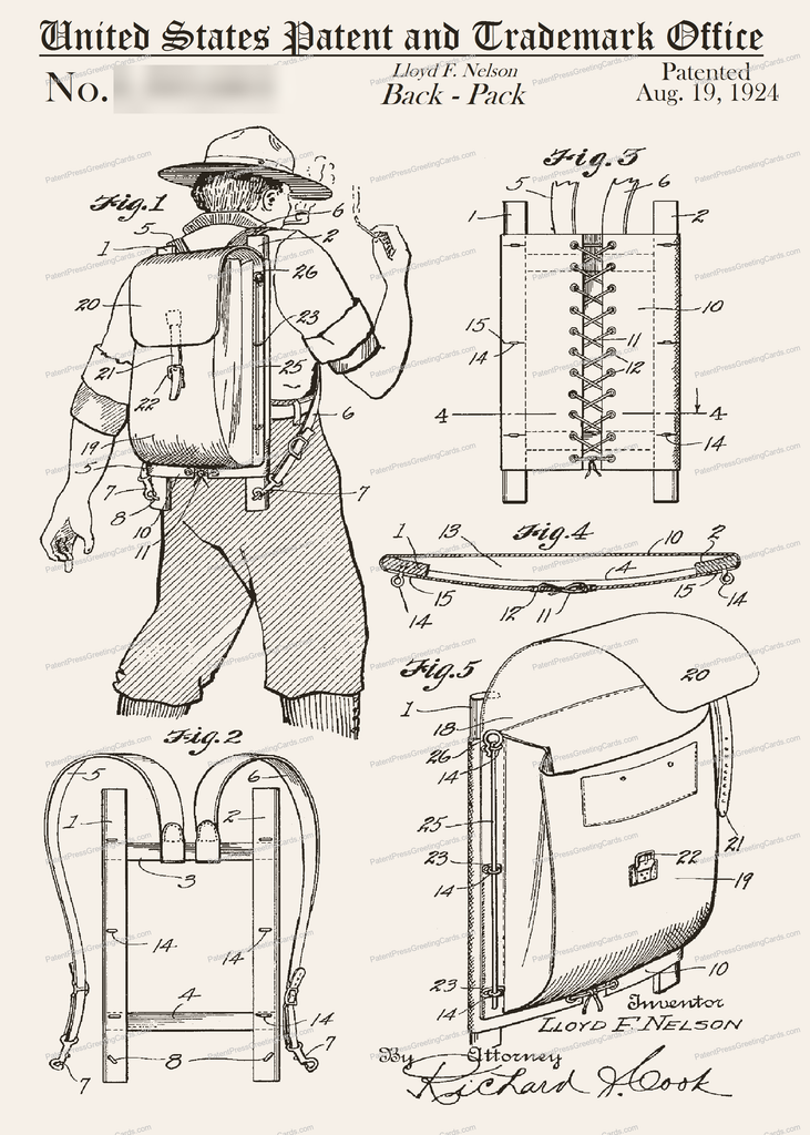 CARD-162: Backpack - Patent Press Greeting Cards