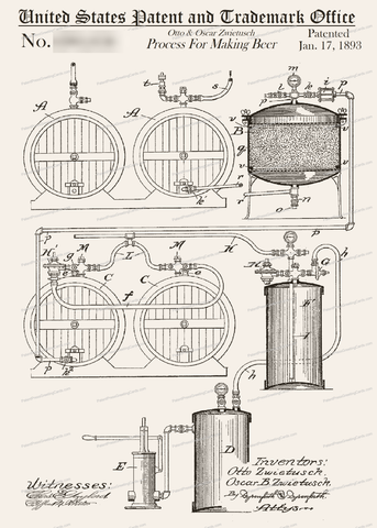 CARD-164: Beer Making Process - Patent Press Greeting Cards