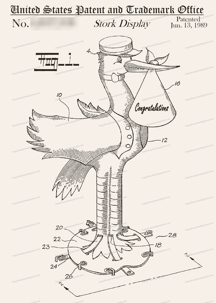 CARD-166: Stork - Patent Press Greeting Cards