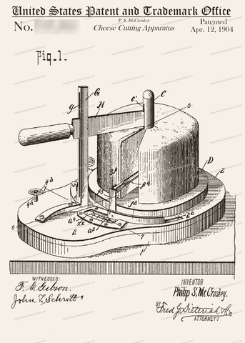 CARD-206: Cheese Cutting Apparatus - Patent Press Greeting Cards