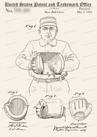 CARD-220: Baseball Glove - Patent Press Greeting Cards