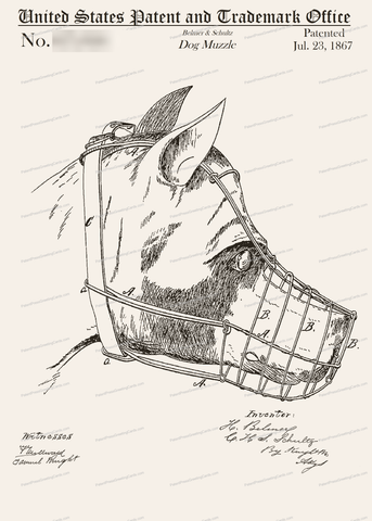 CARD-224: Dog Muzzle - Patent Press Greeting Cards