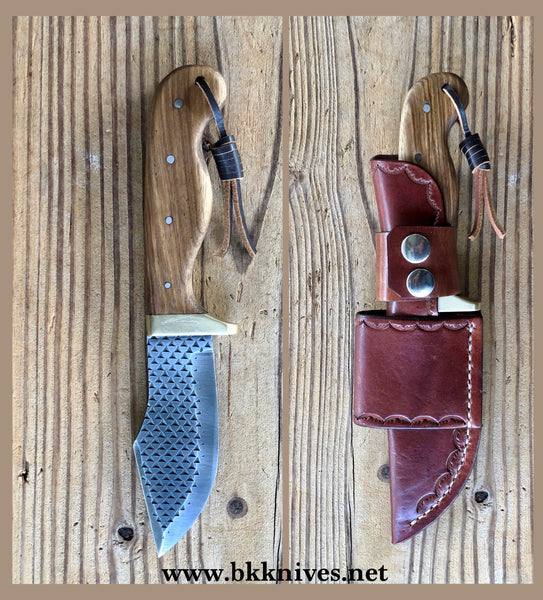 "9-3/4"" Rasp Bowie Knife w/Brass Finger Guard"