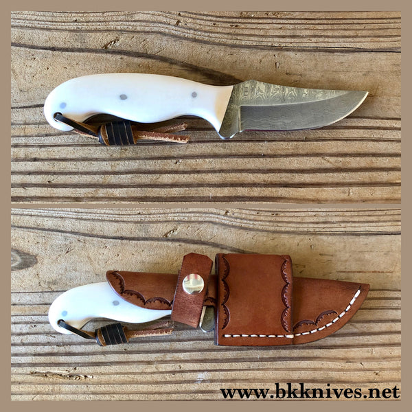 "6-3/4"" Damascus Skinner w/Bowie Shaped Handle"