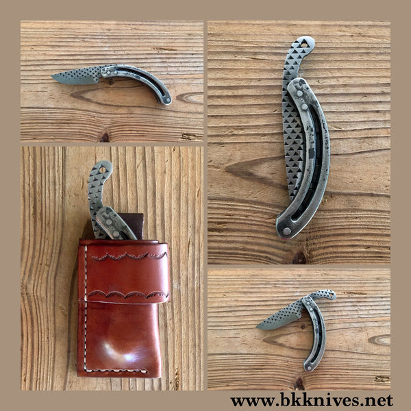 Steel Horseshoe Rasp Caper Friction Folder Knife