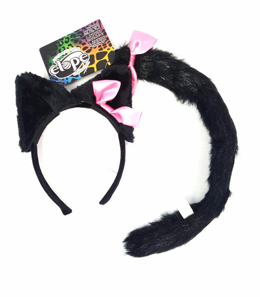 Cat Ears and Tail Set Black - Elope