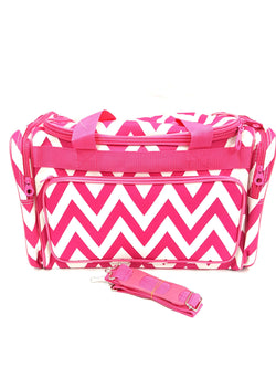 Ever Moda Pink Chevron Duffle Bag 19 inch Dance Cheer Gym Pageant Travel Bag buymi with strap