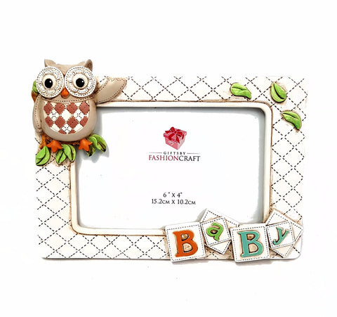Fashioncraft Baby Owl Picture Frame 6 x 4 Inch Hand Painted Vintage Style buymi