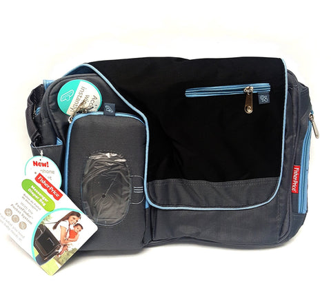 Fisher Price Messenger Diaper Bag Black and Blue buymi