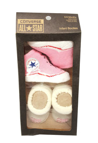 Girls Converse All Star 2 Pair Infant Crib Booties Socks 0-6 Months Pink buymi