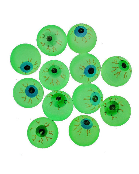 Glow in the Dark Halloween Eye Ball Bouncy Balls 32 MM Size Eyeballs 12ct BUYMI
