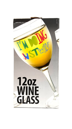 Kovot Funny I'm Doing Just Wine 12 oz. Wine Glass buymi
