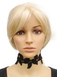 Vera by New York Leaf Stitch Accent Tattoo Choker Black buymi