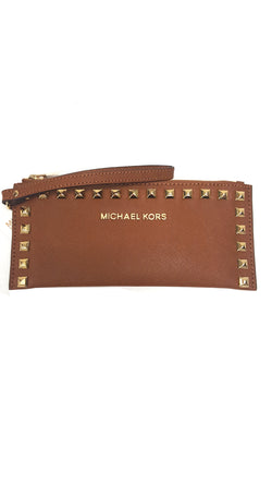 Michael Kors Selma Studded Small Zip Clutch Brown buymi