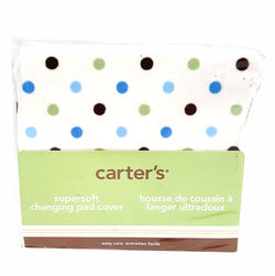 Carter's Baby Boy Changing Pad Cover White Blue Green Brown Polka Dots buymi
