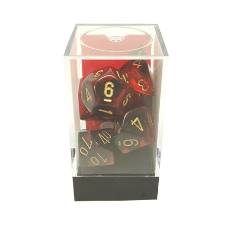 Polyhedral 7-Die Gemini Dice Set: Black & Red with Gold buymi
