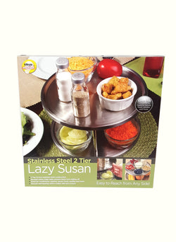 Revolving Lazy Susan Trays 2-Tier Stainless Steel Ideas In Motion SSLS-12/2293 buymi