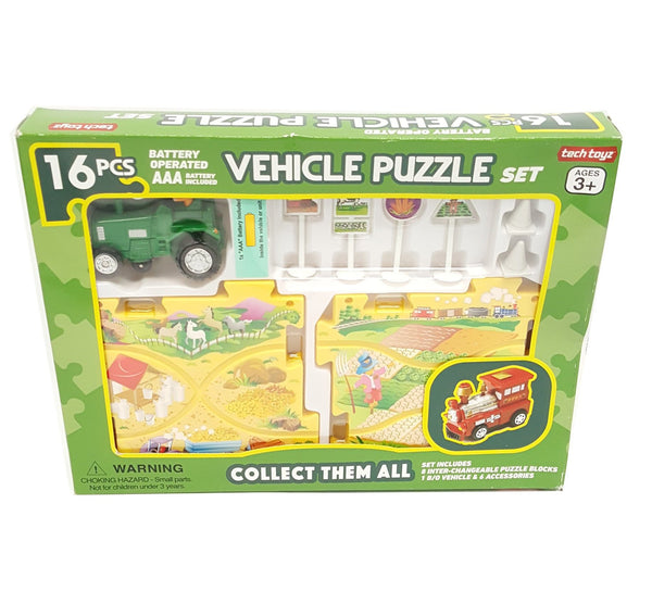 Farm Tractor Battery-Operated Vehicle Puzzle Playset Tech Toyz buymi