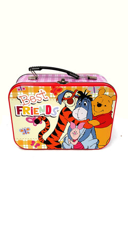 "Winnie The Pooh Tin Tote Lunch Box Best Friends Design 10"" buymi"