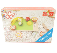 Wooden Fruit Cutting Play Food Toddlers Set Toy w/ Wood Knife & Cutting Board buymi