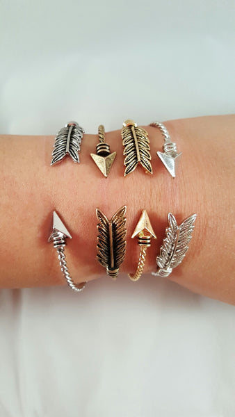 Twisted Arrow Cuff Bracelet Gold Silver