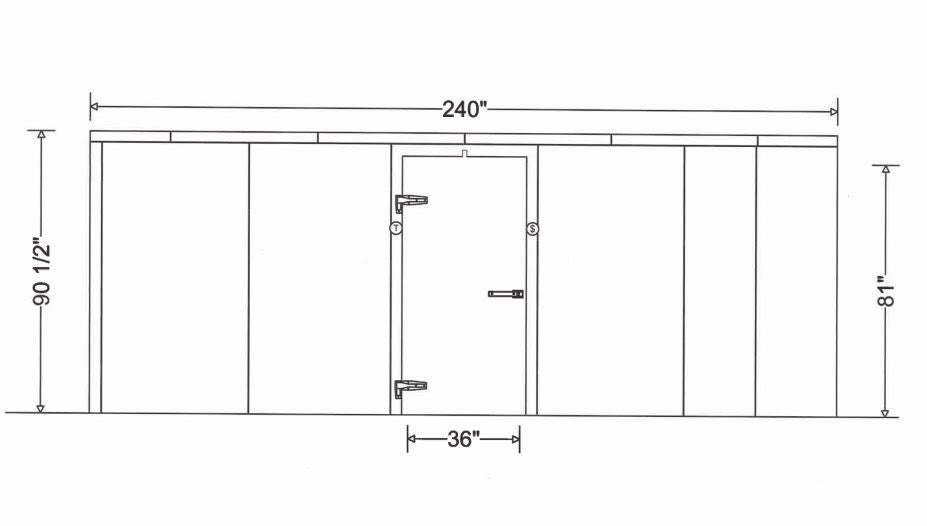 Drawing Of 20 x 20 Foot American Mortuary Cooler - DO NOT COPY