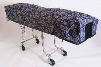 Premium Quilted Mortuary Cot Cover + Matching Lined Pillow Case in Bristol Navy Blue Fabric