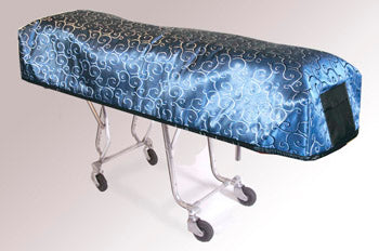 Premium Quilted Mortuary Cot Cover + Matching Lined Pillow Case in Blue Swirl Pattern