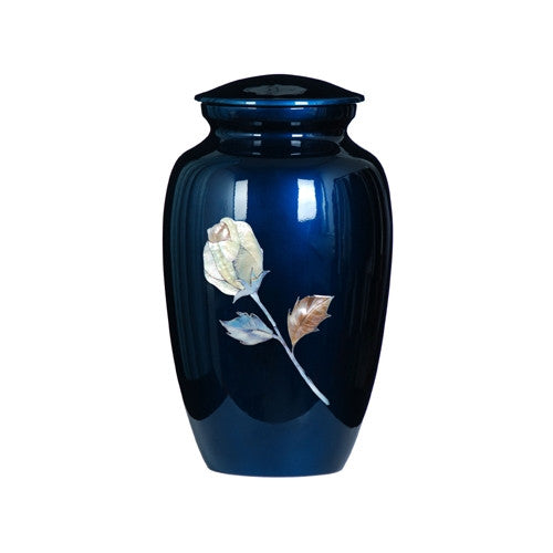 Urn Hand Painted Blue Rose