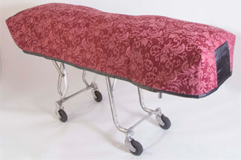 Premium Quilted Mortuary Cot Cover + Matching Lined Pillow Case in Bristol Burgundy Pattern
