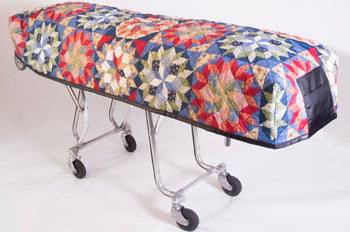 Premium Quilted Mortuary Cot Cover + Matching Lined Pillow Case in Multi-Color Patchwork Pattern