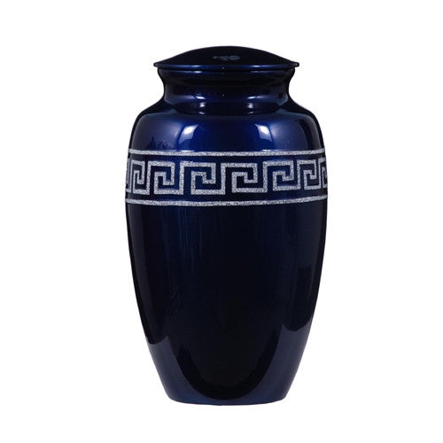 Urn Hand Crafted Grecian Frieze - Blue