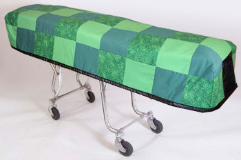 Premium Quilted Mortuary Cot Cover + Matching Lined Pillow Case in Green Patchwork Fabric