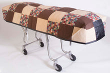 Premium Quilted Mortuary Cot Cover + Matching Lined Pillow Case in Harvest Brown Patchwork Fabric