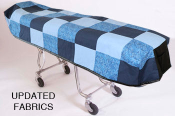 Premium Quilted Mortuary Cot Cover + Matching Lined Pillow Case in Blue Patchwork Fabric