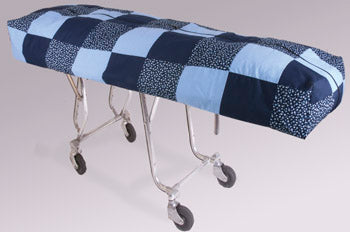 Premium Mortuary Cot Pouch (Full Zip) Blue Quilted Pattern Fabric