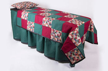 ID Viewing System works with dressing tables, cots, and embalming tables Red/ Green Patchwork Pattern