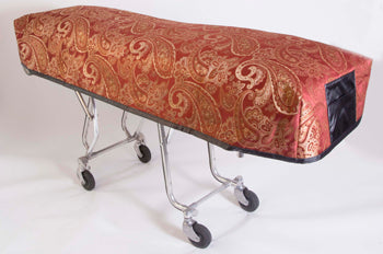 Premium Quilted Mortuary Cot Cover + Matching Lined Pillow Case in Kingsley Red Fabric