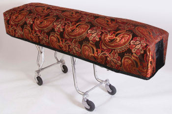 Premium Quilted Mortuary Cot Cover + Matching Lined Pillow Case in Red/ Black Paisley Fabric