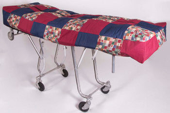 Premium Mortuary Cot Pouch (Full Zip) Red & Blue Quilted Pattern Fabric