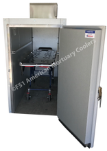 Image of two body American Mortuary Cooler with door swung open