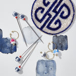 Chinoiserie cocktail picks, navy